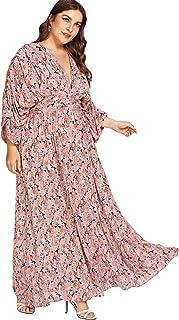 Milumia Women's Floral Kimono Sleeve High Waist Waistband Backless Pleated Kimono Maxi Dress