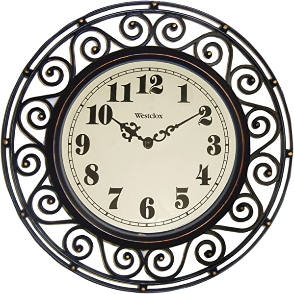 Westclox 32021 Round Filigree Rubbed Clock 12 Inch Bronze