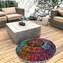 FashionShopmart Ottoman, Pouf Cover, Round Cushion Cover Floor Cushion Cover, Yoga Mat, Floor Decoration Ottoman, Floor Cushion Case- 32, Bohemian Ottoman Cover