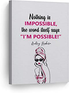 Smile Art Design Nothing Impossible The Word Itself Says I'm Possible! Quote by Audrey Hepburn Glam Fashion Canvas Print Wall Art Women Dorm Bedroom Living Room Wall Decor Ready to Hang 12x8