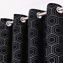 Deconovo Room Darkening Blackout Curtains with Silver Hexagon Geometrical Printed Thermal Insulated Grommet Curtains for Bedroom 2 Panels 52x108 Inch Black CT3565D-7
