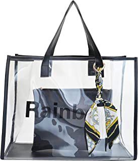 ELFJOY Women's Large Clear Bag Tote Bags Beach PVC Handbag Transparent Shoulder Bag