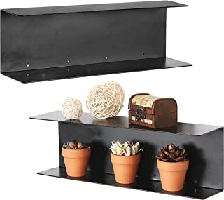 MyGift Modern Black Metal 17-Inch Floating Shelves, Set of 2
