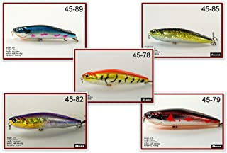 Akuna Pack of 5 Ratt'l Top Series 4 inch Topwater Walk The Dog Fishing Lure