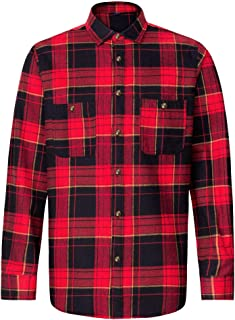 J.VER Uomo Camicie Casual Flanella vestibilità Regolare Cotone Manica Lunga Bottone Giù Camicie a Quadri