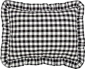 VHC Brands Farmhouse Annie Cotton Buffalo Check Standard Bedding Accessory, Sham 21x27, Black