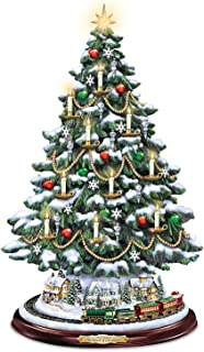Bradford Exchange Thomas Kinkade Candlelit Tabletop Tree with Lights and Music and Rotating Train by The