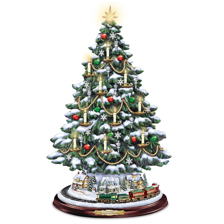 Image of Candlelit Thomas Kinkade Tabletop Christmas Tree with Lights, Music and Rotating Train