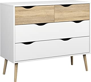 Tvilum Diana 4 Drawer Chest, White/Oak Structure