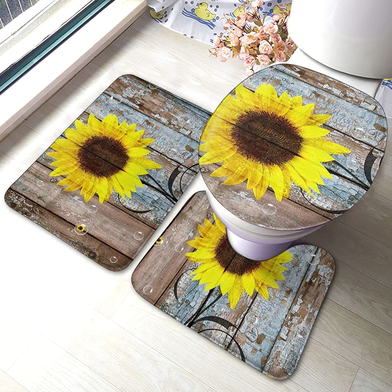 Sunflower On Old Wood Super sale period limited Panel Print Bathroom Pad 5 popular Antiskid