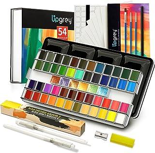 Upgrey Watercolor Paint Set, 48 Premium Colors + 6 Metallic Colors + 20 Watercolor Papers + 3 Brushes + 2 Water Brushes + ...