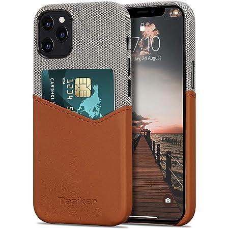 Tasikar Funda iPhone 12 / Funda iPhone 12 Pro Carcasa Cartera de Cuero y Tela con Tarjetero Compatible con iPhone 12 & iPhone 12 Pro (Marrón)