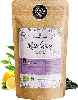Miss Grey Schwarztee BIO - 100g - Premium Earl Grey Mischung mit Bergamotten Aroma lose Blätter 100% biologischer Anbau, hergestellt in Deutschland - koffeinhaltig, natürliche Energie | 80DEGREES