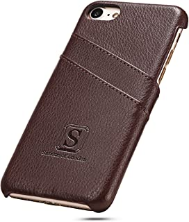 Simons of London iPhone 8 / iPhone 7 Luxury Leather Case with Slots for ID/Bank Cards | Ultra Slim Perfect Slim Fit Cases in Pouch and Gift Box - Walnut Brown