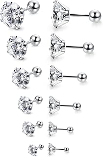 Jstyle 6Pairs 18G Stainless Steel Mens Womens Stud Earrings Cartilage Ear Piercings Helix Tragus Barbell CZ 3-8mm