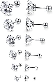 6Pairs 18G Stainless Steel Mens Womens Stud Earrings Cartilage Ear Piercings Helix Tragus..