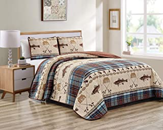 River Fly Fishing Themed Rustic Cabin Lodge Quilt Stitched Bedspread Bedding Set with Fishing Rods Lure with Southwestern Tartan Check Plaid Tweed Patterns Blue Brown - River Lodge (Full/Queen)