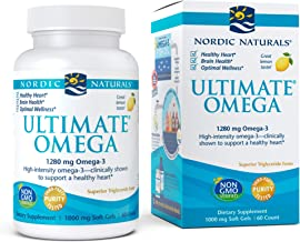 Nordic Naturals, Ultimate Omega, Fish Oil Supplement with Omega-3 DHA and EPA, Supports Heart Health and Brain Development, Burpless Lemon Flavor, (30 servings) 60 soft gels (FFP)