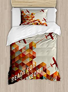Ambesonne Vintage Airplane Duvet Cover Set, Ready for Take Off Retro Style Geometric Pattern Triangles Clouds Planes, Decorative 2 Piece Bedding Set with 1 Pillow Sham, Twin Size, Burnt Orange