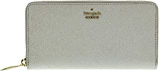 Kate Spade Burgess Court Lacey Zip Around Wallet for Women, Leather - Silver (PWRU5932-040)