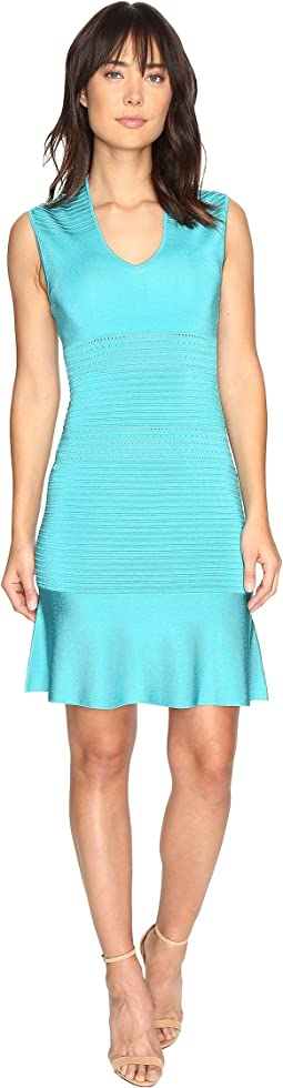 V-Neck Sleeveless Flounce Sweater Dress