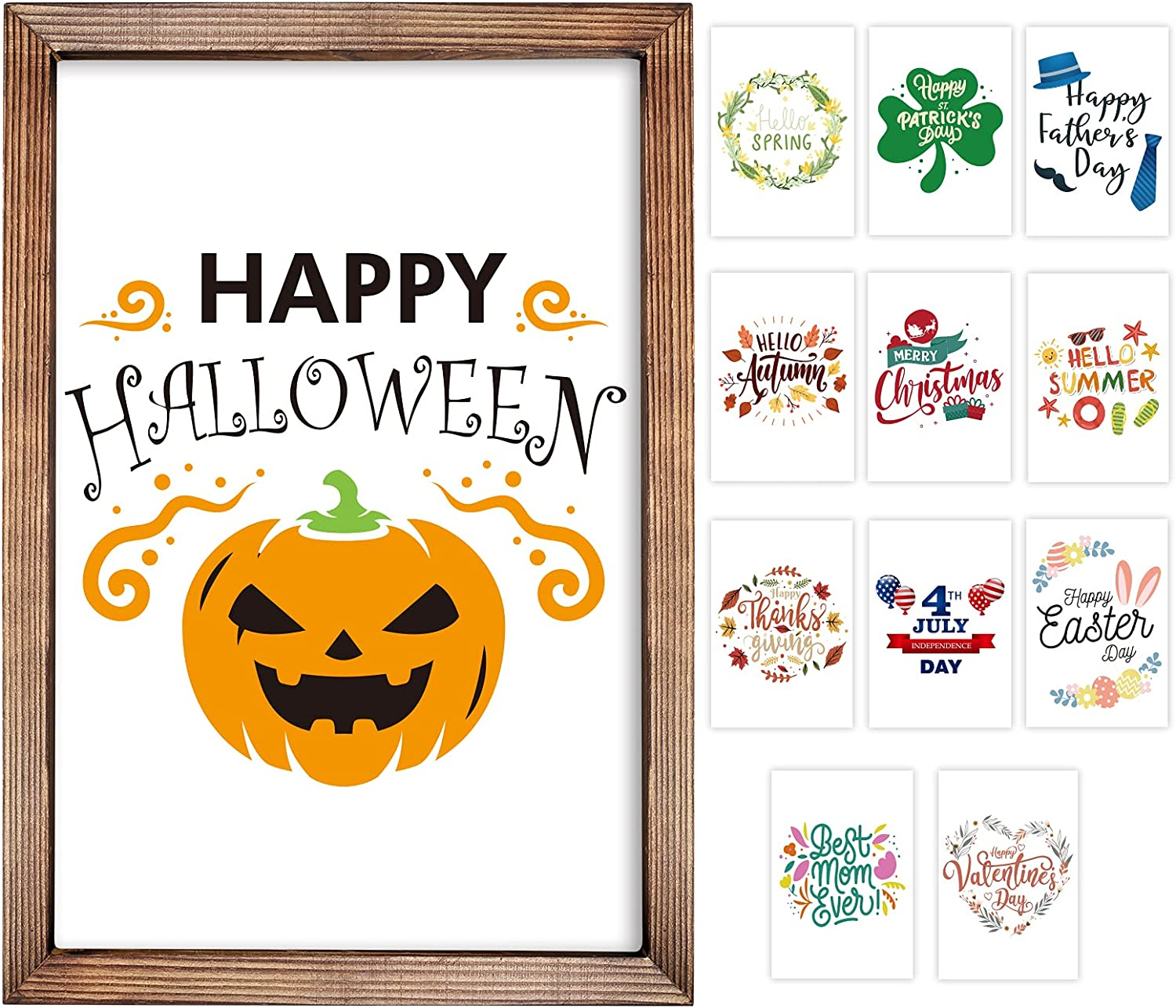 Farmhouse Wall Decor Sign with 12 Interchangeable Seasonal Sayings for Home Decor, Rustic Wood Picture Frame Gifts Home Living Room Decorations for Holiday Halloween Thanksgiving Christmas 11x16 Inch