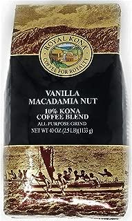 Royal Kona 10% Kona Coffee Blend, Vanilla Macadamia Flavor - Ground Coffee 40 Ounce Bag
