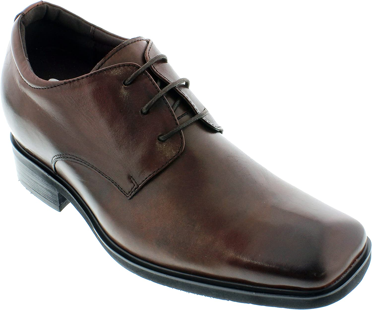 CALTO - G62323-3.6 Inches Taller - Height Increasing Elevator shoes (Dark Brown Lace-up Square-Toe)