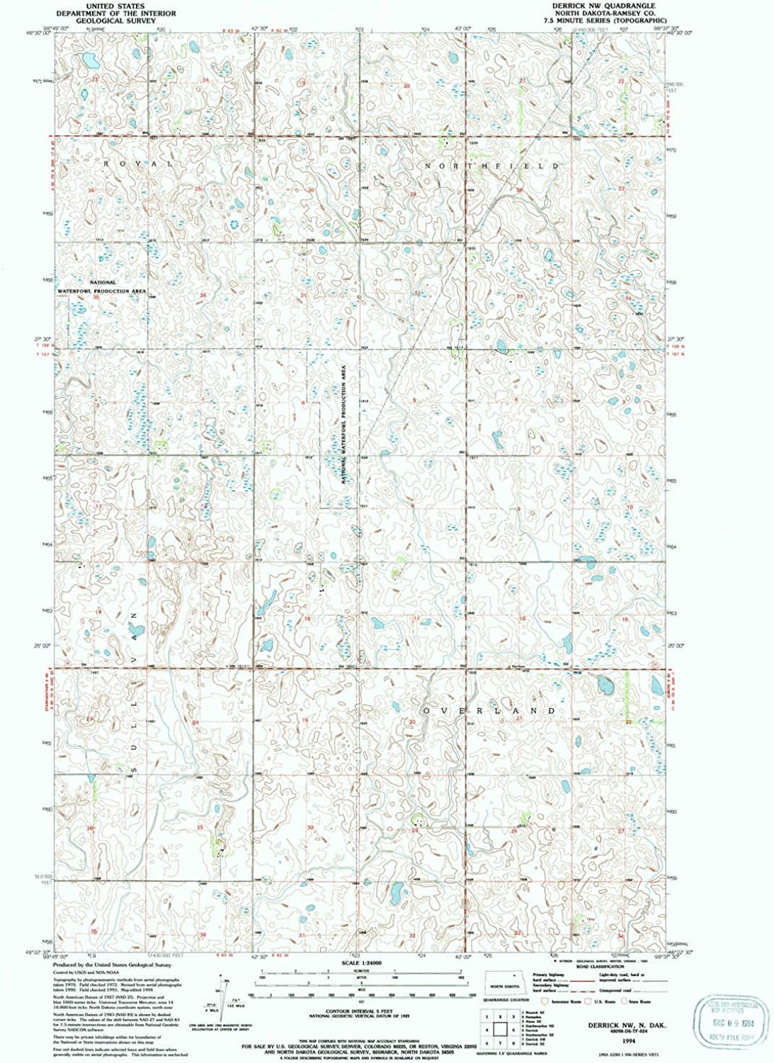 Derrick NW ND topo map, 1 24000 Scale, 7.5 X 7.5 Minute, Historical, 1994, Updated 1994, 26.8 x 21.6 in