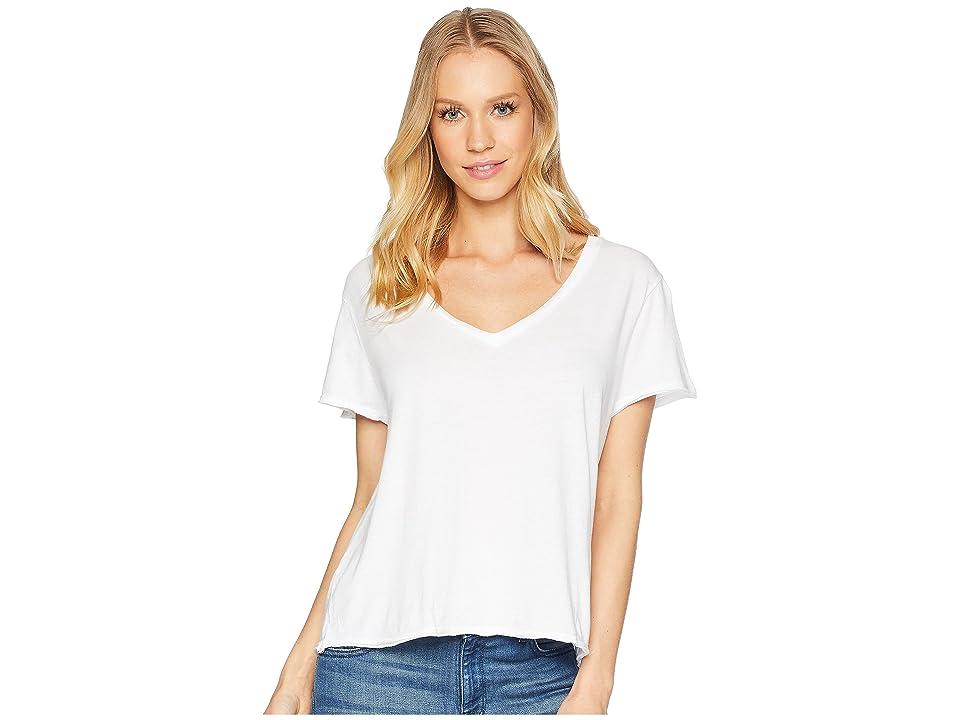 Michael Stars Ultra Jersey Cropped V-Neck Tee (White) Women's T Shirt