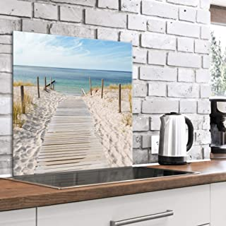 murando Panel de Vidrio para Cocina 60x60 cm Vidriopanel Protector Pantalla Antisalpicaduras Salpicadero con Gráfica Panel Decorativo Motivo Paisaje Mar Playa - c-A-0169-aq-a