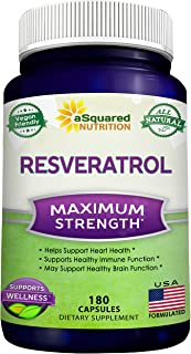 100% Natural Resveratrol - 1000mg Per Serving Max Strength (180 Capsules) Antioxidant Supplement, Trans-Resveratrol Pills ...