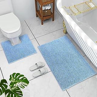 JustLINEN Bathroom Rugs Luxury Chenille 2-Piece Bath Mat Set, Soft Plush Super Absorbent Anti-Slip Bath Rugs + U Shape Con...