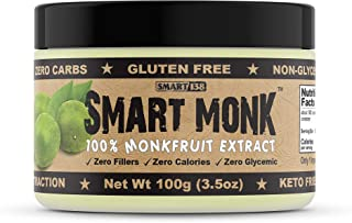 Smart Monk - 100% Monkfruit Extract, Non-Glycemic, Zero Calorie, Sugar-Free Monk Fruit Sweetener (100g)