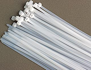 NICEKEY Nylon Zip Ties 50PCS Plastic Cable Ties Self-Locking Heavy Duty wrap ties Durable Strong Cable Ties (8inch, White)