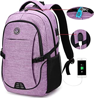 SOLDIERKNIFE Durable Waterproof Anti Theft Laptop Backpack Travel Backpacks Bookbag with usb Charging Port for Women & Men School College Students Backpack Fits 15.6 Inch Laptop Purple