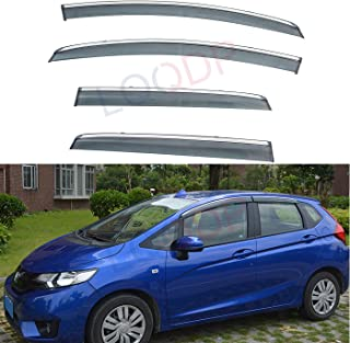 LQQDP 4pcs Smoke Tint With Chrome Trim Outside Mount Tape On/Clip On Style PVC Sun Rain Guard Vent Shade Window Visors Fit 15-19 Honda Fit 3-Door Hatchback