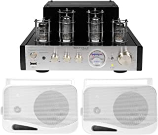 """Rockville BluTube Tube Amplifier/Home Theater Bluetooth Receiver+(2) 4"""" Speakers"""