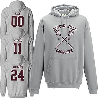thorityau Felpa con Cappuccio Lacrosse Beacon Hills Stilinski Lahey McCall Felpa con Cappuccio Lacrosse Teen Wolf Felpa con Cappuccio Felpa Unisex Taglie S-2XL