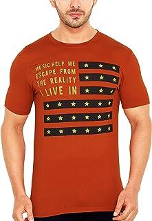GLOBALRANG Global Rang Casual Green Round Neck Half Sleeve Printed Tshirt for Men