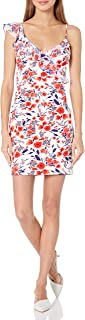 GUESS womens FLORAL PRINTED SCUBA AND CHIFFON DRESS Cocktail Dress