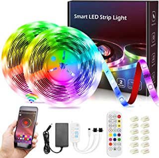 Tiras LED, ISUDA Impermeable 10M Luces LED Inteligentes Musica RGB 5050 Tira LED de Interior y exterior Habitación con 20 ...