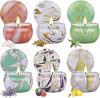 Juegos Velas Aromáticas de Regalo, 6 Piezas Cera de Soja Velas Perfumadas, en 6 latas geométricas, Aromaterapia Decoración...