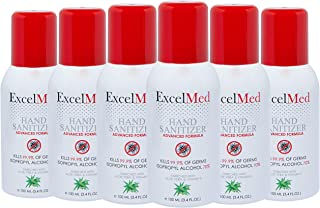 ExcelMed Hand Sanitizer Spray 100ml (Package of 6), Aloe Vera + Vitamin E, Packages of 1,3,6,12 Available