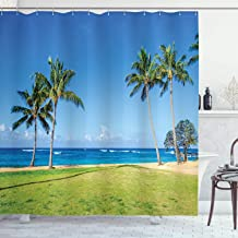 Ambesonne Hawaiian Shower Curtain, Coconut Palm Trees and Lawn on The Sandy Poipu Beach in Hawaii Kauai Picture Print, Cloth Fabric Bathroom Decor Set with Hooks, 70 Long, Blue Green