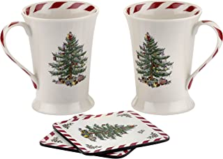 Spode Christmas Tree Peppermint Mug and Coaster, Set of 2