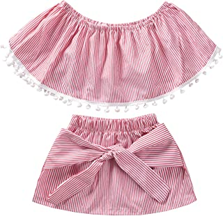 Unutiylo Toddler Baby Girl Clothes Tassels Red Tube Top Striped Mini Skirt Sets Summer Outfits 2 Pcs
