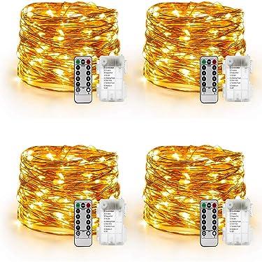 YIHONG Juego de 4 guirnaldas de luces que funciona con baterías, guirnalda de luces impermeable con 8funciones, 50 luces LED de cuerda.Luces de 16,4 pies, luces de luciérnaga de alambre de cobre operadas a control remoto (Blanco Cálido)