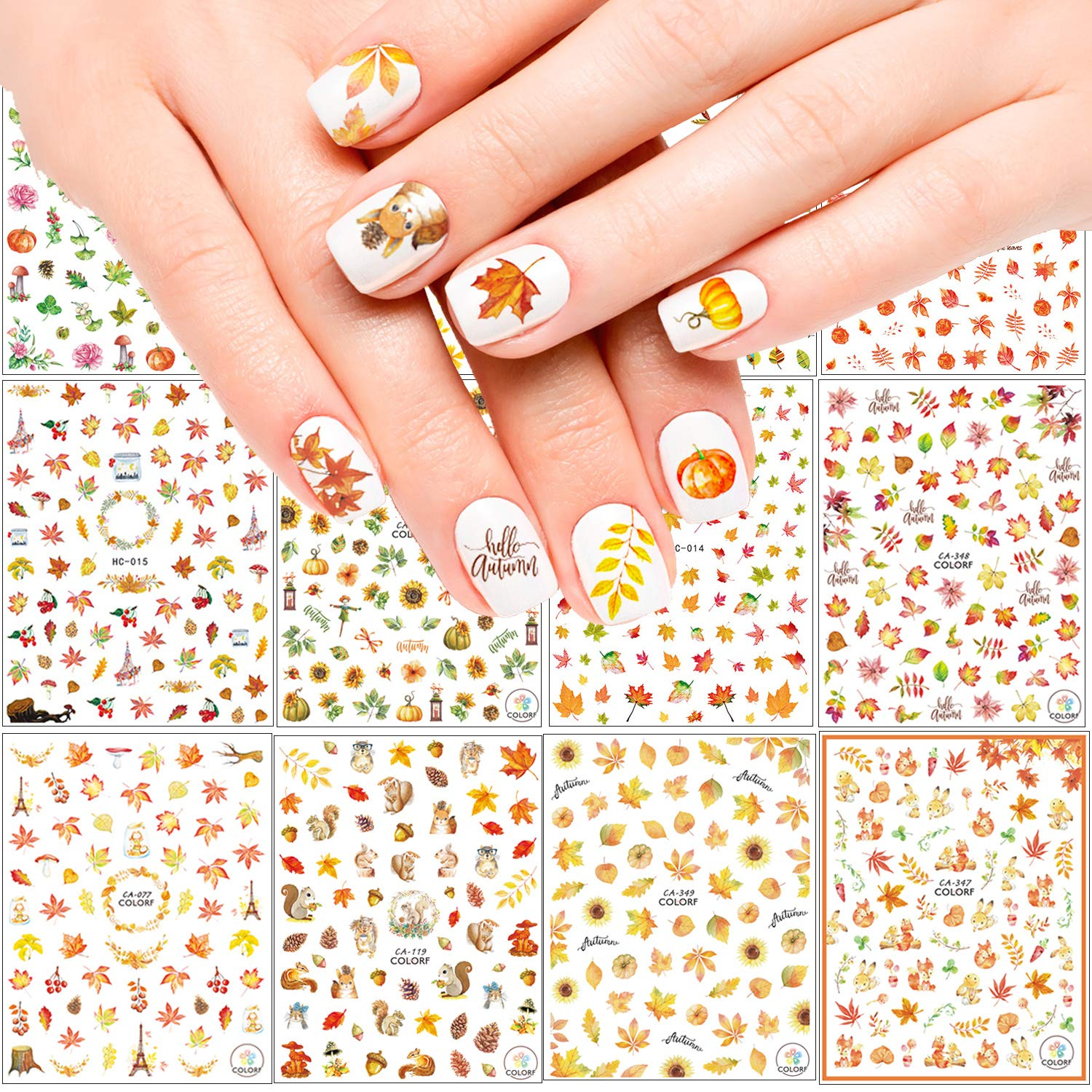 Adurself 1000+ Patterns Autumn Nail Decals Special price for a limited time Great interest Art Fall 3D Self