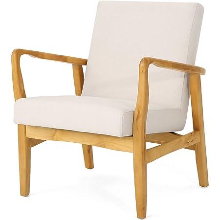 Amazon Com Christopher Knight Home Isaac Mid Century Modern Fabric Arm Chair Ivory Walnut Furniture Decor